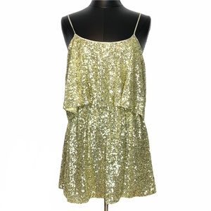 Lovers + Friends Gold Sequin Sunkissed Party Dress